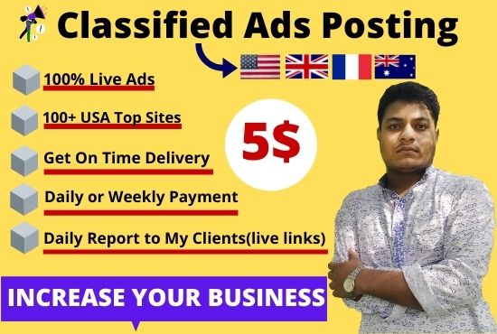 I will publish your 100 ads on the top classified ad posting sites for any country