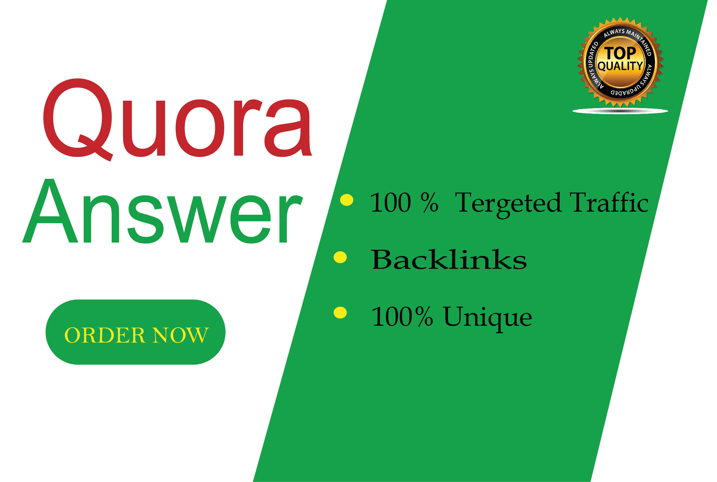Offer niche relevant traffic with 30 Quora answers