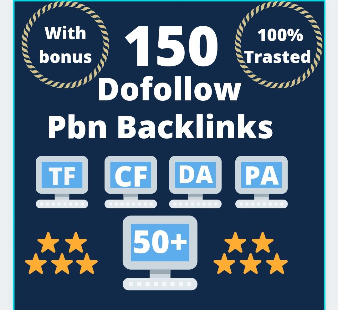 create 150 Manually HIGH TF CF DA PA 50+ to 150 Dofollow PBN Backlinks