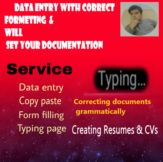 Data entry & Correction of Documents & Professional work