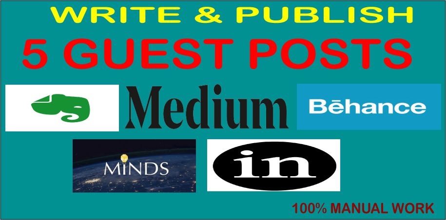 Write and publish 5 guest posts on Evernote,  Medium,  Behance,  Minds & Linkedin with high DA and PA