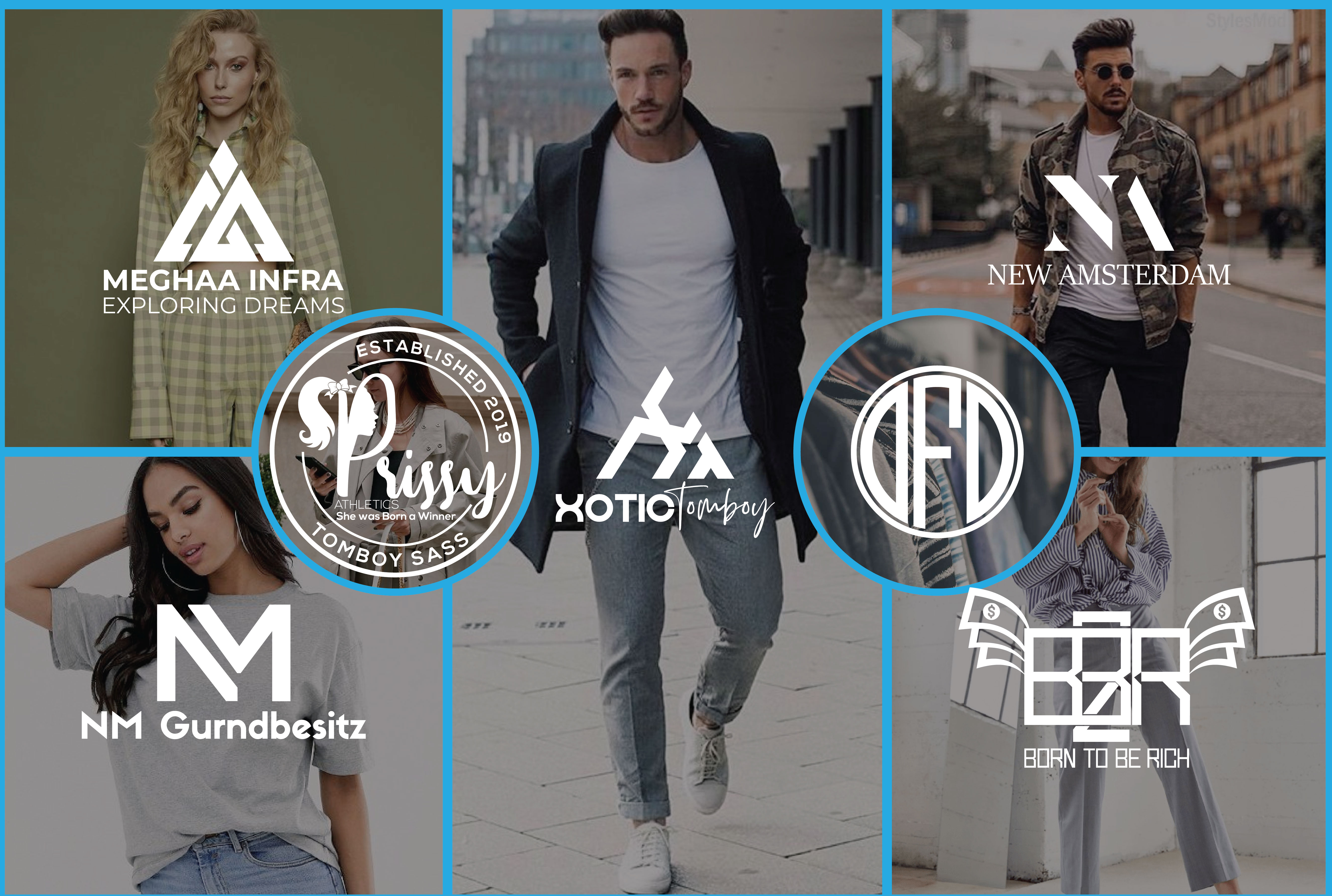 i will design fashion, streetwear, clothing initial letters or monogram logo