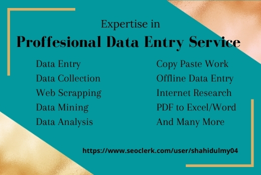 I can support your virtual assistant for data entry,  data mining,  copy paste,  web research