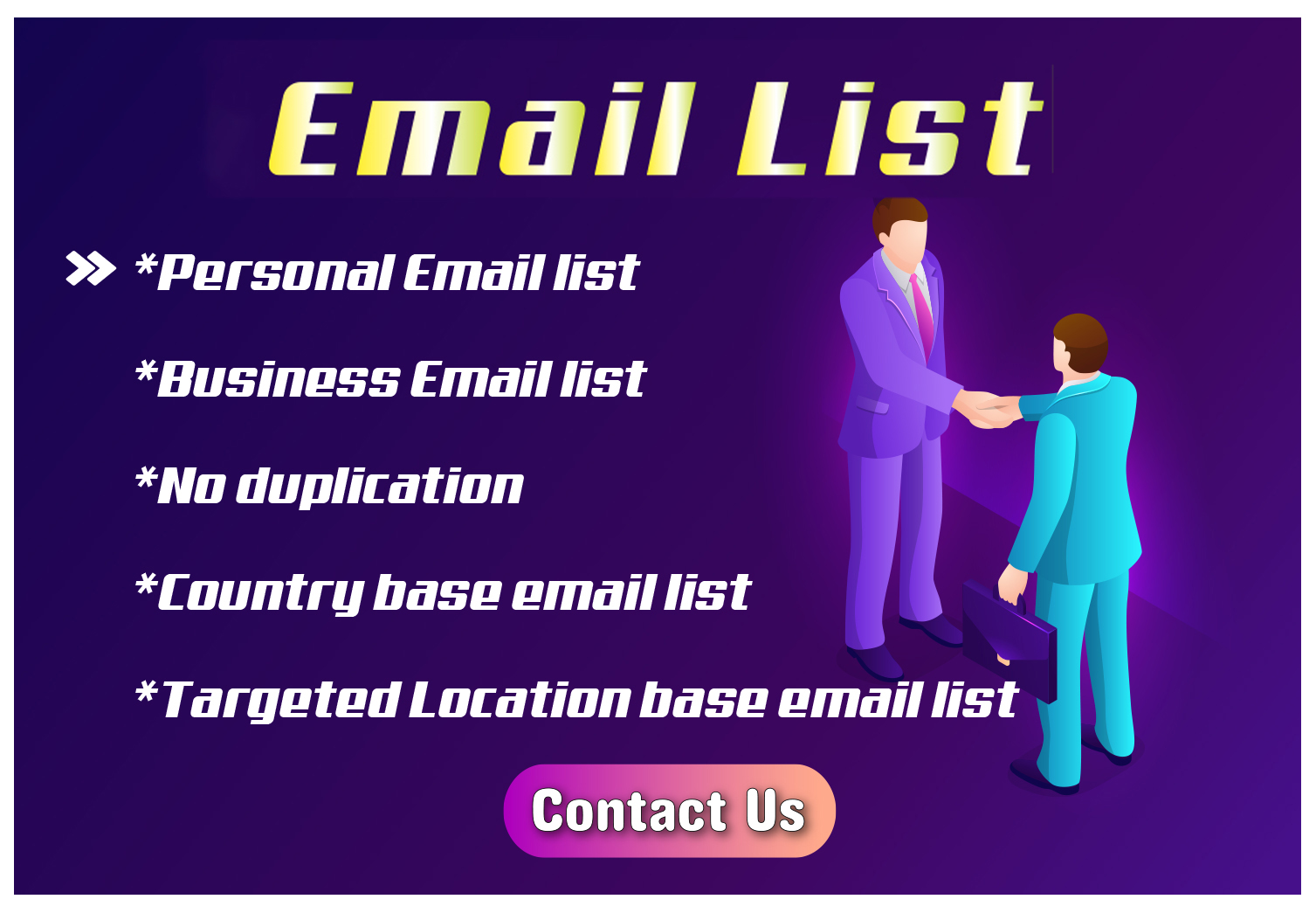 I will Provide You 5000 Niche based USA Targeted E-mail List