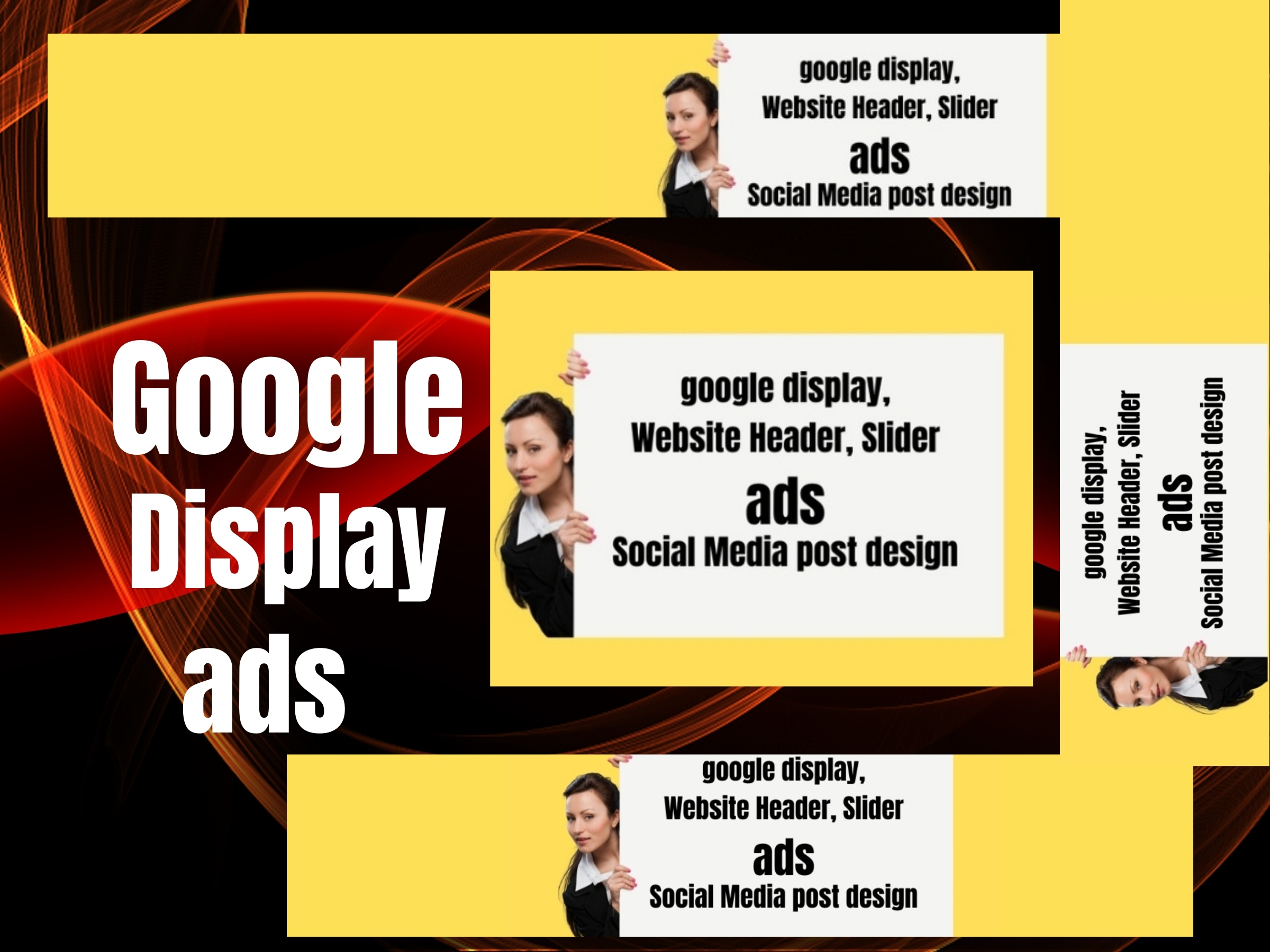 i will design google display ads,  website header,  slider,  social media post