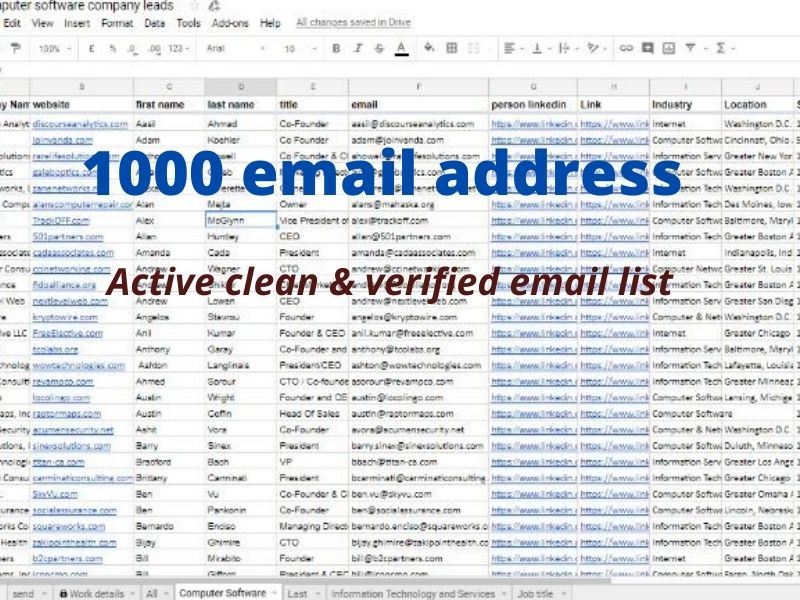 I will provide targeted email list for email marketing campaigns