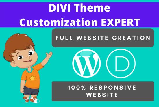 I will create divi website design and divi theme customization