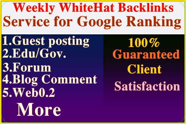 i will provide weekly organic backlinks service for google ranking.