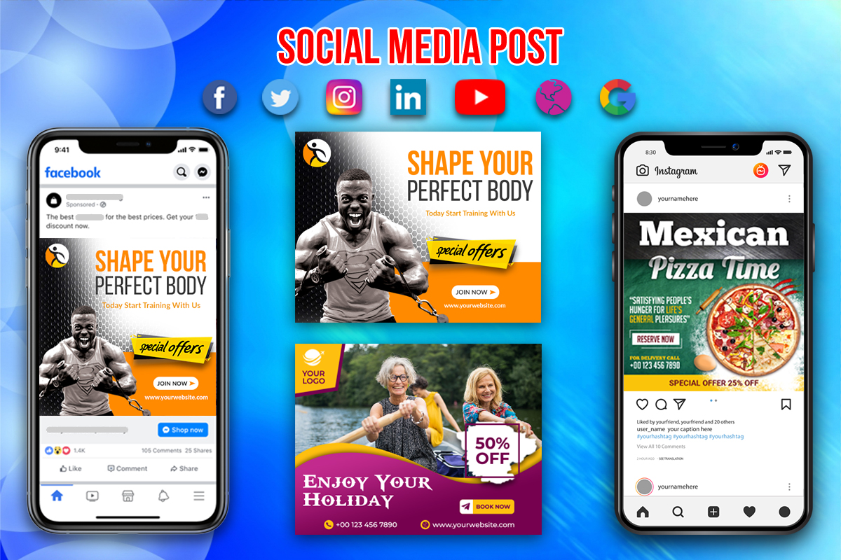 I will design facebook,  instagram post or social media banner,  ads