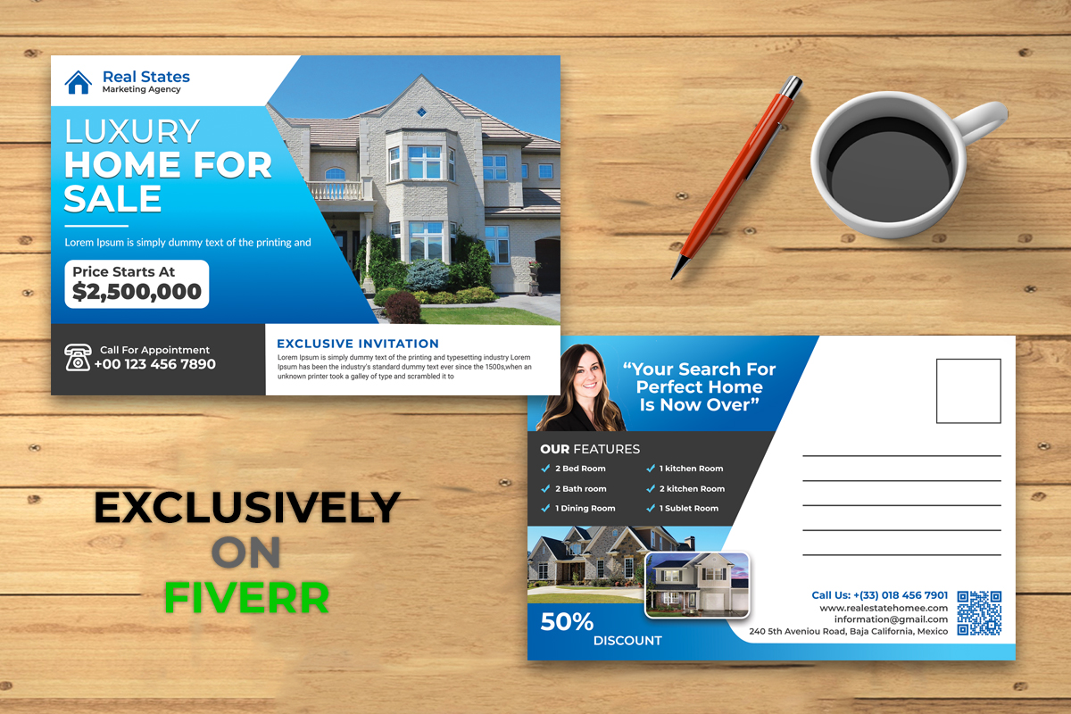 I will design professional real estate postcard or eddm postcard