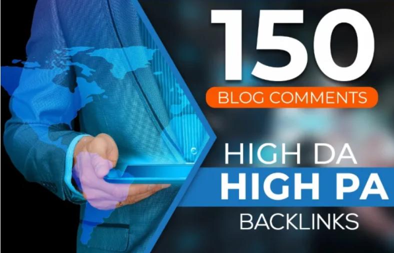 Permanent Manually 150 dofollow high da/pa blog comments backlinks