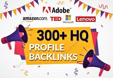 I will provide HQ Domain Authority 300 profile backlinks