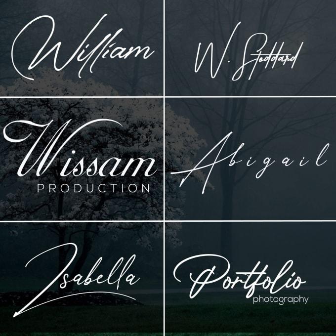 I will create a signature handwritten or text logo