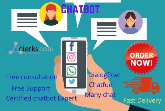 I will create a messenger chatbot in many chat,  chat fuel and dialog flow