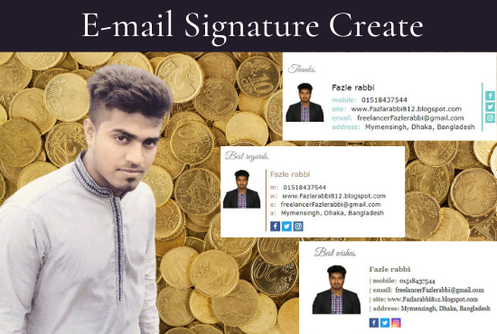 I will make a modern HTML email signature for outlook,  Gmail and apple