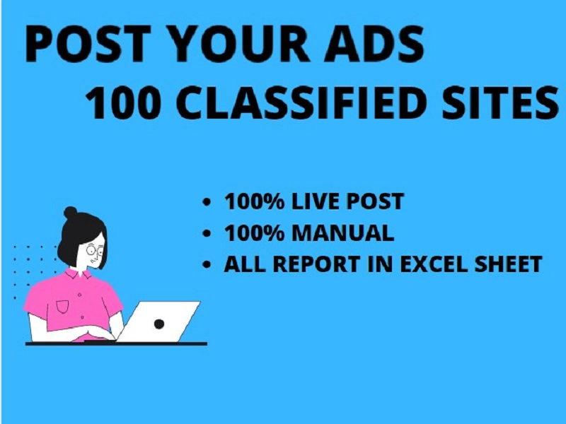 I will post 100 classified ads with live link