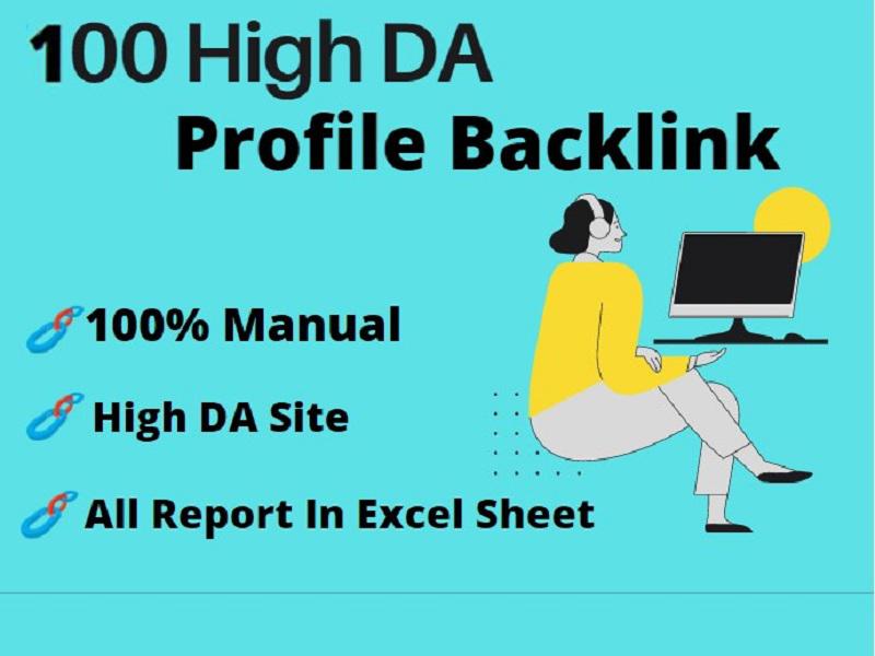 I Will Provide 100 High DA Profile Backlinks Full Manually