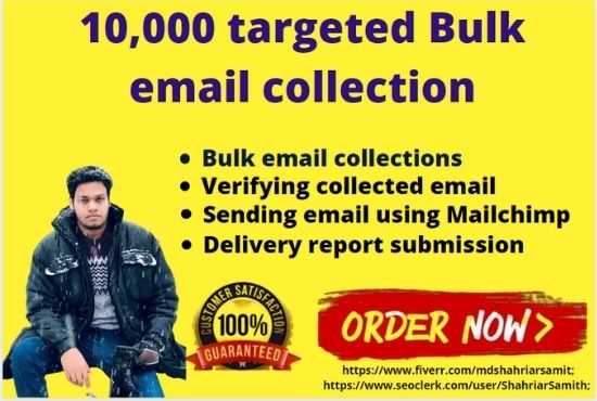 I will do a targeted bulk email collection. Moreover,  I will verify and both of us will satisfy.