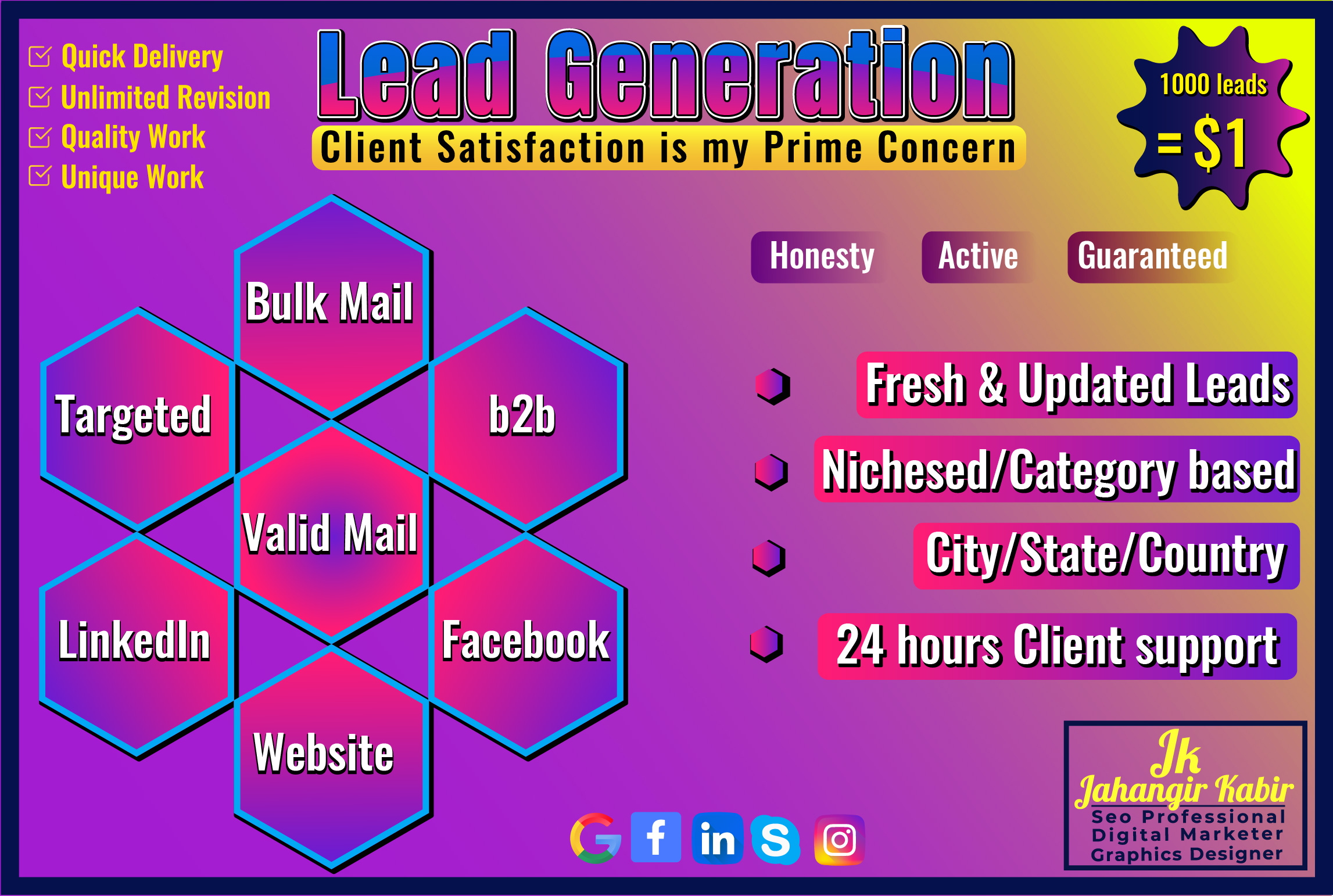 I'll provide targeted 1k leads any City any Country any niches