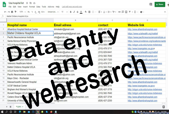 I will data entry and web research as a virtual assistant