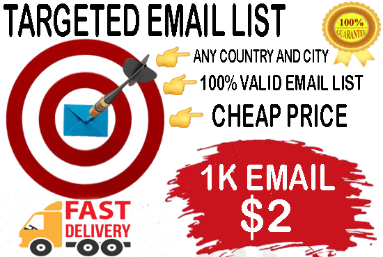 I will do 1k targeted email list in perfectly