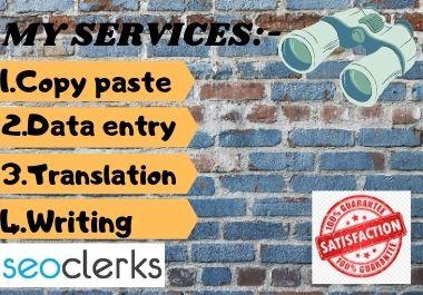 I will do any kind of copy paste,  data entry,  translation