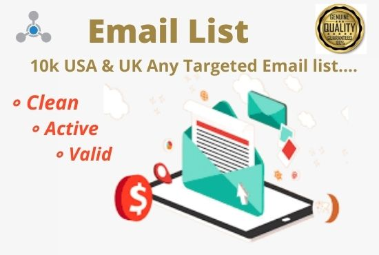 I will collect 10k USA & UK Targeted Verified email list for marketing