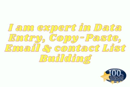 I am expert in Data entry, Copy-paste etc