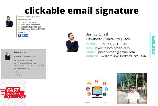 will design a clickable email signature