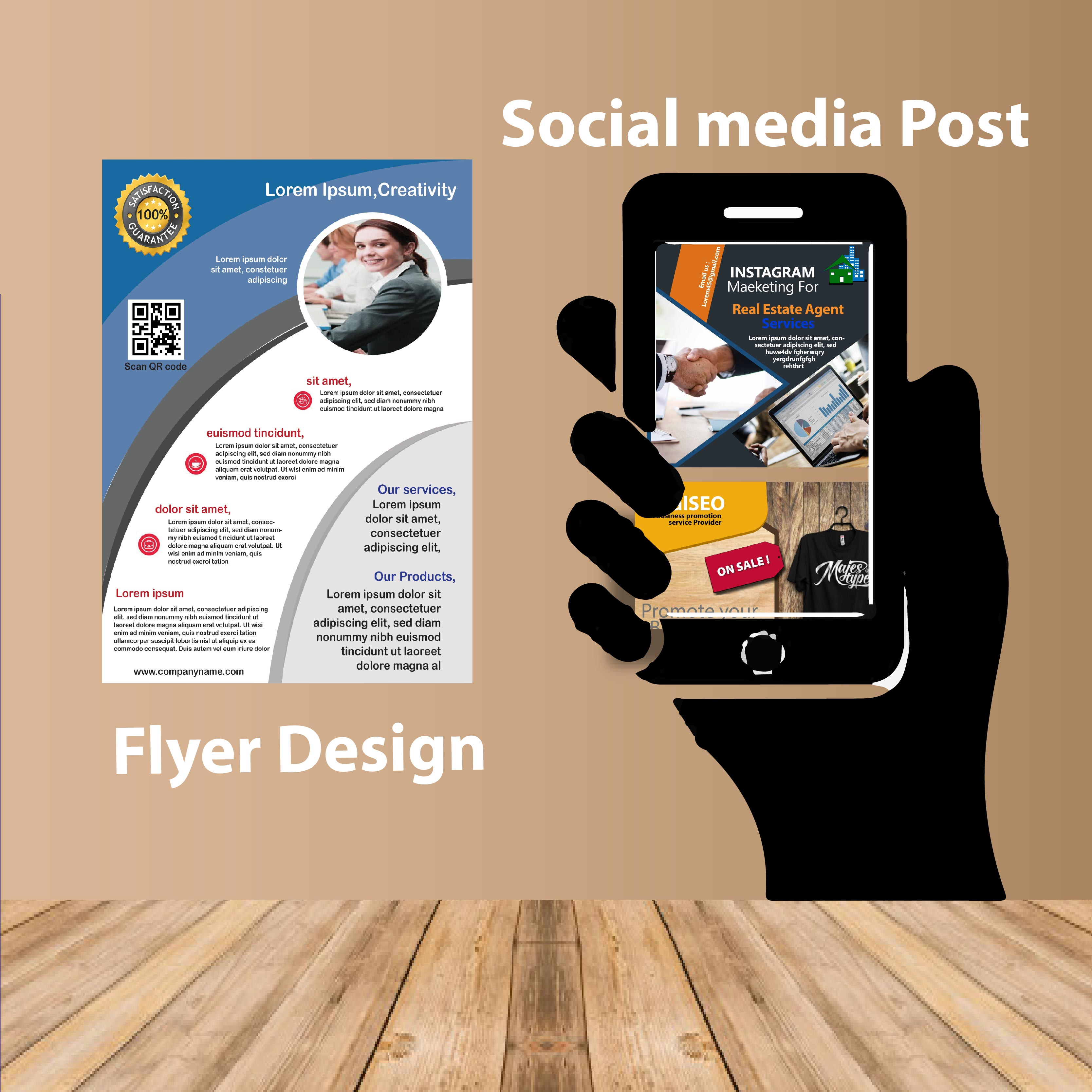 I will design social media post and flyer for you