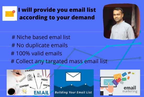 I will provide your requirement targeted niche email according to your demand