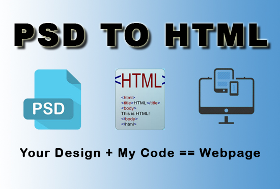 convert psd to html or image to html responsive website