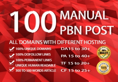 Get Perfect 100 PBN posts with high PA DA all. com domains