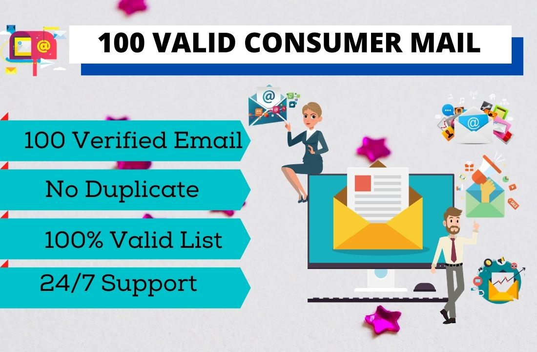 I will provide 100 verified consumer mail