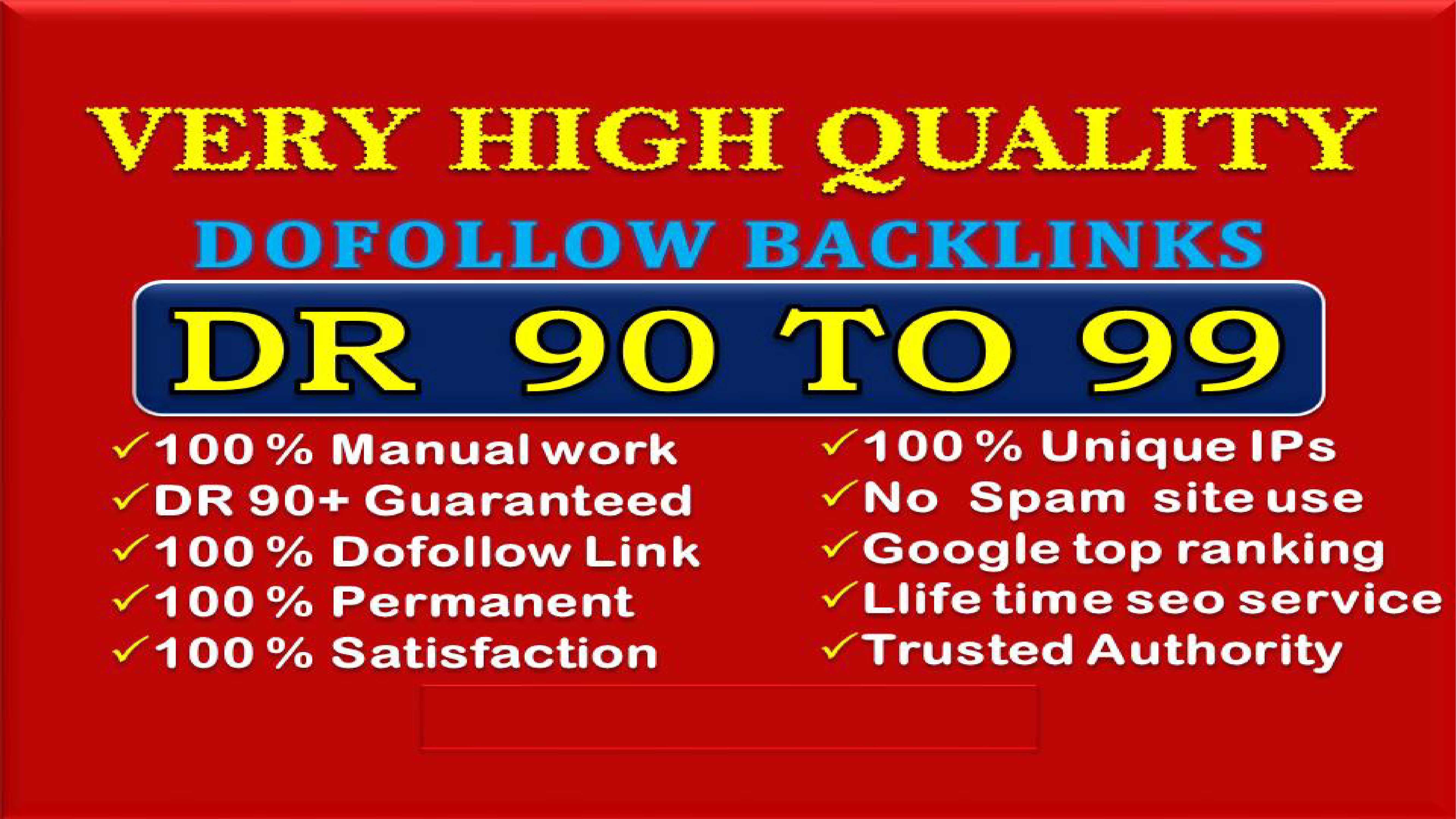 I will build DR 90 to 99 high quality dofollow backlinks link building for seo service