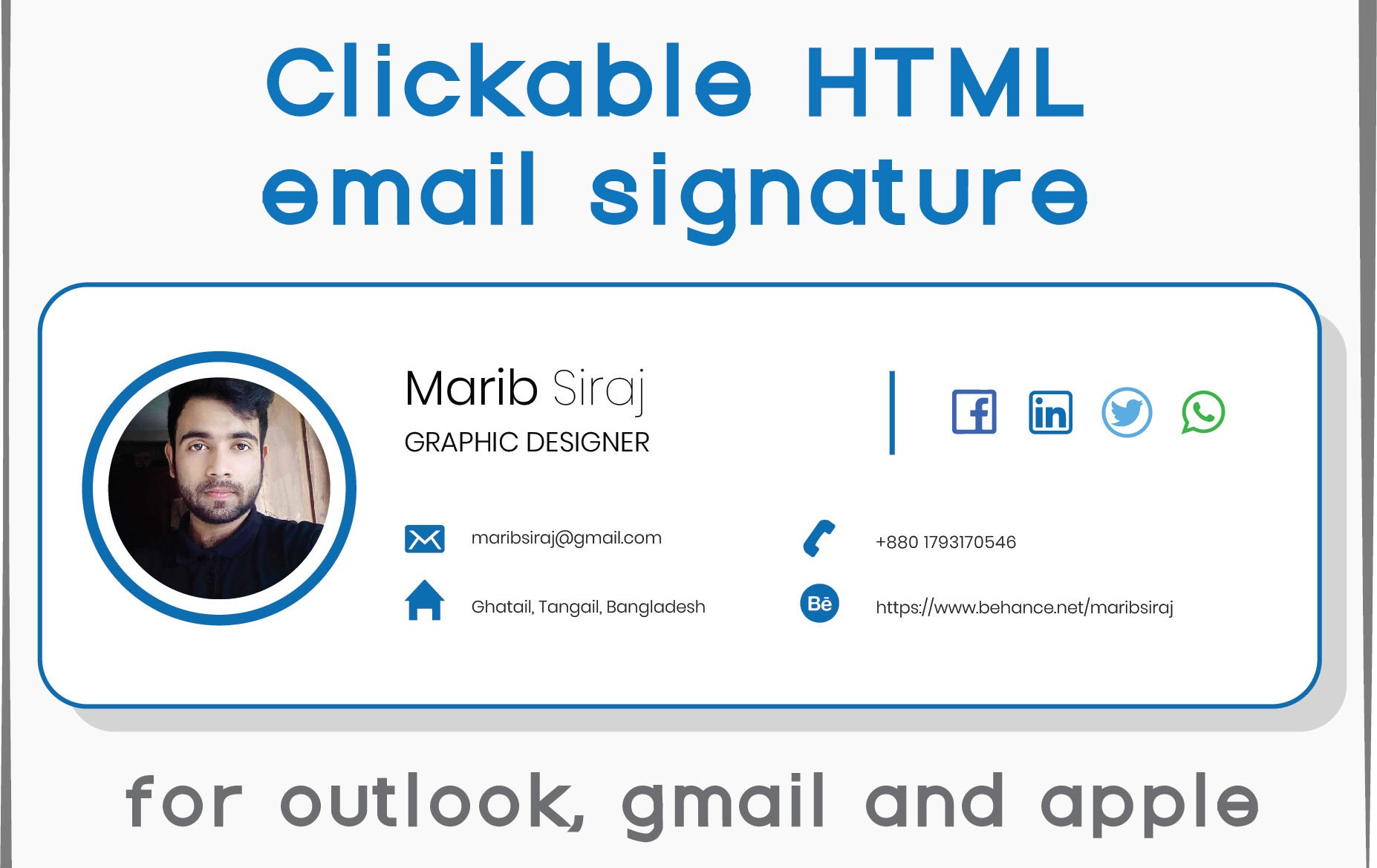 I will design clickable email signature with HTML