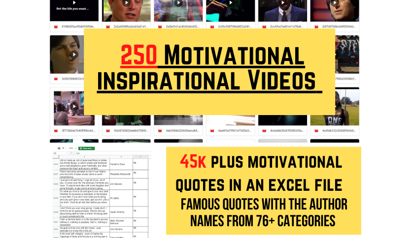 45k Plus Motivational Inspirational Quotes,  In An Excel File With 250 Videos