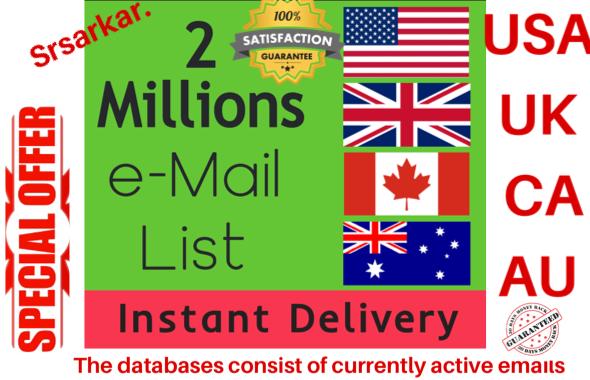 give 2 million USA UK canada australia consumer email list data