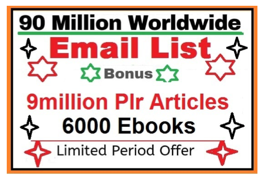 99 million email list with Ebook and plr article