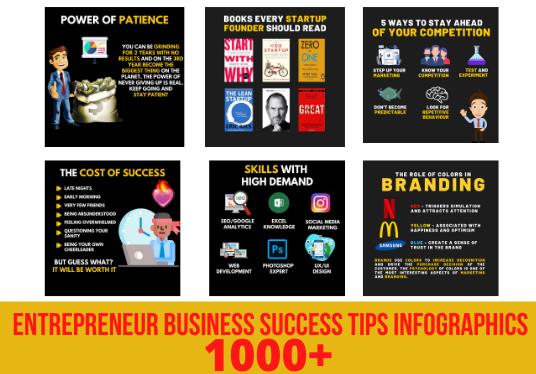I will design 1000 entrepreneur business success tips infographics for instagram