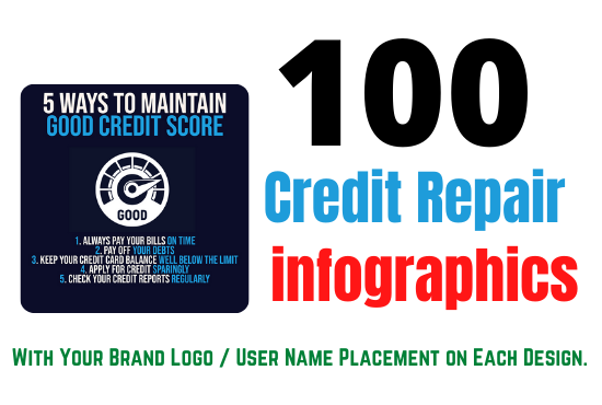 100 Credit Repair Infographics for Instagram with BONUS 50 quote