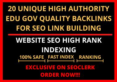 I will do 20 unique high authority edu gov quality backlinks for SEO link building