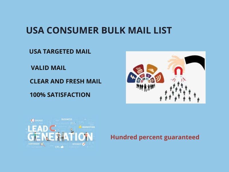 I will provide 1k USA based consumer bulk mail list