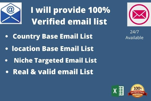 I will Provide 100 Verified Email List