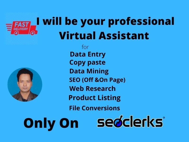 I Will be your professional Virtual assistant for excellent work.