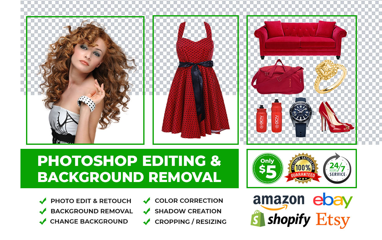 I will do background removal,  photoshop editing,  cut out,  amazon product photo edit,  photo retouch