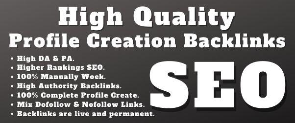 I will Create 30 High Authority Profile Creation Backlinks