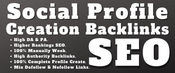 I will Create 70 High Authority social profile creation backlinks