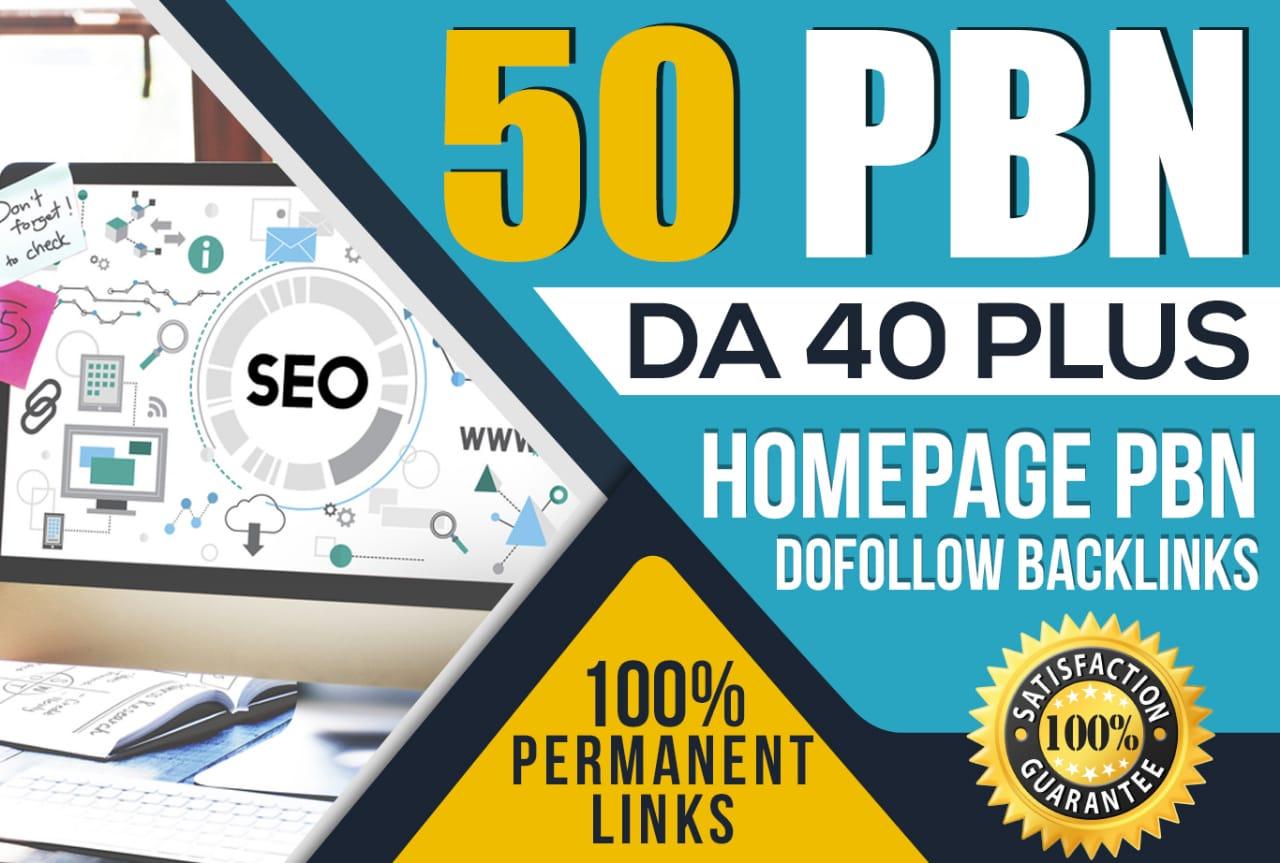 Create 50 Premium DA 40+ TO DA 50 HOMEPAGE PBN Backlinks - Dofollow Quality Links