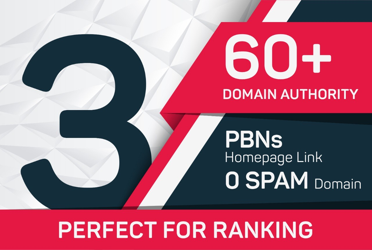 Build 3 PBN DA 60+Homepage Backlinks